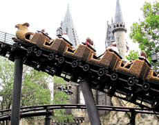 A theme park ride at Harry Potter World, Orlando