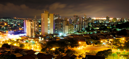 Night falls on the city of Sao Paulo