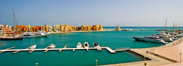 Warm desert ochres and the cobalt blues at Hurghada marina