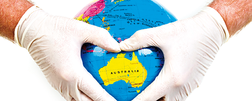 globe with heart around australia