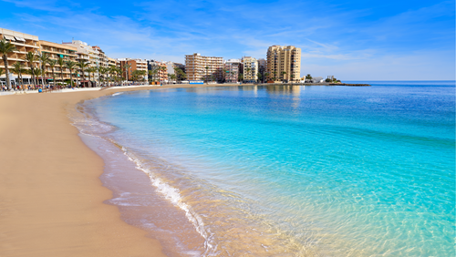 Playa del Cura beach in Torrevieja, Spain