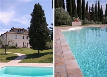 Rear view of villa & pool