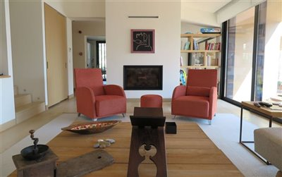 Beach Villa in Bodrum For Sale - Lounge with fireplace