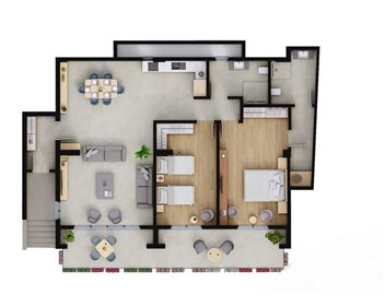Fethiye Town Nature View Apartments - Sample 2 bedroom floor plan