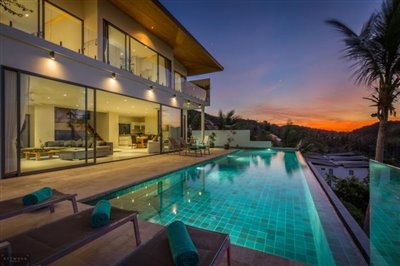 Contemporary-Sea-View-Villas-For-Sale-Koh-Samui-Exterior-Night-1