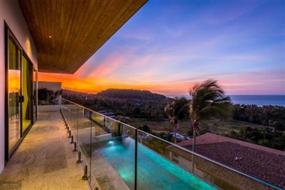 Contemporary-Sea-View-Villas-For-Sale-Koh-Samui-Balcony-Sunset