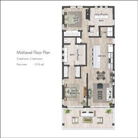 Floor plan - two bedroom mid level